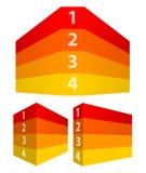 Le rouge et le jaune ont numéroté des rangées dans la perspective comme un mur 3d Images libres de droits