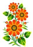 Le rouge fleurit le vecteur folklorique décoratif ENV 10 d'élément Photographie stock