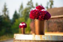 Le rouge foncé fleurit la pièce maîtresse de bouquet Photos libres de droits