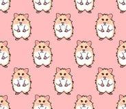 Le rouge mignon observe le hamster sur le fond rose Illustration de vecteur illustration stock