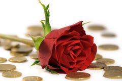 Le rouge a monté sur d'euro pièces de monnaie Photos stock