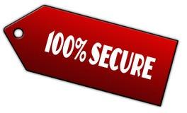 Le rouge 100 POUR CENT FIXENT le label Photos stock
