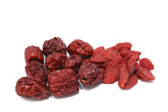 Le rouge sec date le zi de guo qi de zao de berries_hong de goji Photos stock