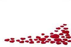 Le rouge a senti des coeurs d'isolement sur un fond blanc - valentines, amour Photos libres de droits