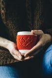Le rouge a tricoté la tasse de laine avec le modèle de coeur dans des mains femelles Photos stock