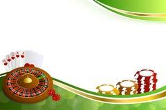 Le roulette astratte del casinò dell'oro verde del fondo cardano l'illustrazione delle schifezze dei chip Immagine Stock Libera da Diritti