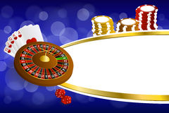 Le roulette blu astratte del casinò dell'oro del fondo cardano l'illustrazione delle schifezze dei chip Immagine Stock