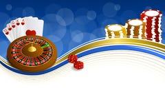 Le roulette blu astratte del casinò dell'oro del fondo cardano l'illustrazione delle schifezze dei chip Fotografia Stock