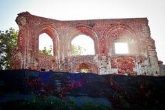 Le rovine della chiesa gotica da 14/15th centur in Trzesacz, Polonia Fotografie Stock Libere da Diritti