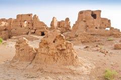 Le rovine della città antica di Jiaohe, Cina Fotografia Stock Libera da Diritti