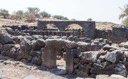 Le rovine della città ebraica antica Korazim Horazin, Khirbet Karazeh, distrutto da un terremoto nell'ANNUNCIO del IV secolo, in  Immagini Stock