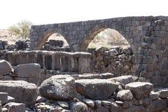 Le rovine della città ebraica antica Korazim Horazin, Khirbet Karazeh, distrutto da un terremoto nell'ANNUNCIO del IV secolo, in  Fotografie Stock