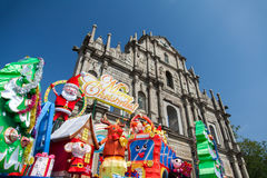Le rovine della st Pauls, complesso del XVI secolo a Macao con la decorazione di natale Fotografia Stock Libera da Diritti