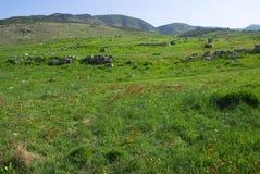Le rovine di Laodicea una città di Roman Empire in attuale, Turchia, Pamukkale fotografia stock