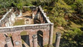 Le rovine di Sheldon Church hanno costruito nel 1745 vicino a Beaufort Ca del sud fotografia stock