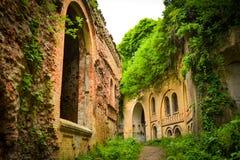 Le rovine di vecchia fortificazione militare conquistata di natura Immagine Stock Libera da Diritti