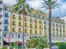 Le Royal, three stars Hotel in Nice, France. NICE, FRANCE - MAY 14, 2013: Le Royal, three stars Hotel offers 140 guestrooms, located at the heart of the Cote d` royalty free stock photos