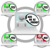 le réseau d'ami demande le social Image stock