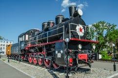 Le ruote principali di una locomotiva a vapore Fotografia Stock