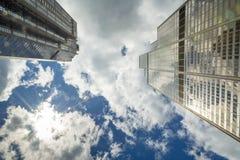 Le ruspe spianatrici del cielo raggiungono al cielo con il talento del sole Immagine Stock Libera da Diritti