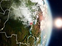 Le Rwanda pendant le lever de soleil Images libres de droits
