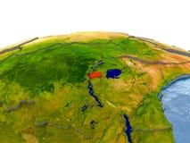 Le Rwanda sur le modèle de la terre Photos stock