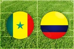 Le Sénégal contre le match de football de la Colombie Photographie stock