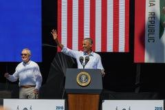 Le sénateur Harry Reid avec le 20ème le lac Tahoe sommet annuel 12 du Président Obama Photographie stock libre de droits