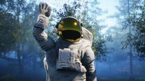 Le ` s d'astronaute entrent en contact d'abord avec des étrangers Concept réaliste superbe rendu 3d photos libres de droits