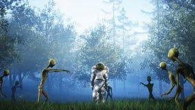 Le ` s d'astronaute entrent en contact d'abord avec des étrangers Concept réaliste superbe rendu 3d images libres de droits
