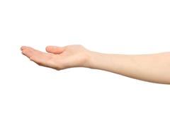 Le ` s de femme a étiré la main avec la paume ouverte Photos stock