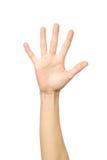 Le ` s de femme a étiré la main avec la paume ouverte Images stock