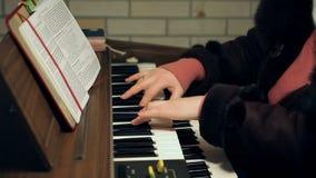 Le ` s de femme adulte remet jouer un vieil organe antique clips vidéos