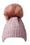 Le ` s de femmes a tricoté le chapeau d'isolement sur le fond blanc chapeau avec Image libre de droits