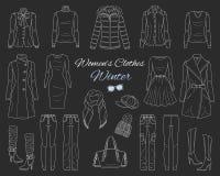 Le ` s de femmes vêtx la collection Équipement d'hiver Illustration de croquis de vecteur Photo stock
