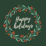 Le ` s de Noël et de nouvelle année tressent hors des brindilles, des feuilles et des baies rouges avec des mots bonnes fêtes sur illustration de vecteur