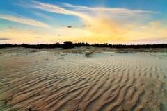 Le sable ondule le coucher du soleil Photo libre de droits
