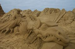 Le sable sculpte le hobbit Images libres de droits
