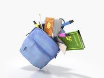 Le sac à dos bleu avec les fournitures scolaires 3d rendent sur le blanc Photo stock