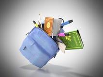 Le sac à dos bleu avec les fournitures scolaires 3d rendent sur le gris Images stock