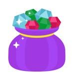 Le sac avec des bijoux d'illustration de bande dessinée de gemmes renvoient le vecteur plat de cadeau brillant de luxe de diamant Image stock