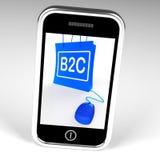 Le sac de B2C montre des affaires aux achats en ligne de client Image stock
