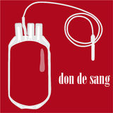 Le sac de sang avec le sang des textes donnent Photo libre de droits