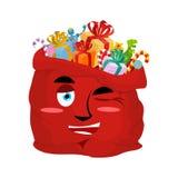 Le sac de Santa cligne de l'oeil Emoji Sac à Noël avec joyeuse émotion de cadeaux illustration stock