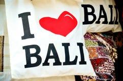 Le sac de souvenir avec le mot indiquent l'amour Bali d'I Images libres de droits