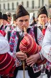 Le sac roumain siffle le joueur au défilé de Patrick de saint Photos libres de droits