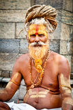 Le sadhu de Shaiva cherche l'aumône sur le temple de Pashupatinath à Katmandou images stock