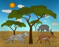 Le safari africain avec le lion et l'impala d'éléphant a fait le papier réutilisé par forme Images libres de droits