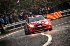 Le Saint-Marin le 21 octobre 2017 - PEUGEOT 206 WRC au rassemblement la légende Image stock