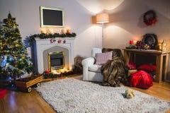 Le salon avec l'arbre de Noël, le divan et le Noël mettent en sac Image stock